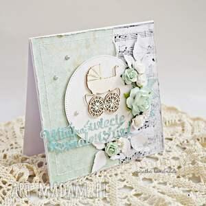 niebieskie scrapbooking kartki narodziny witaj na świecie maleństwo