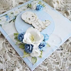 narodziny scrapbooking kartki niebieskie witaj na świecie!, kartka w pudełku