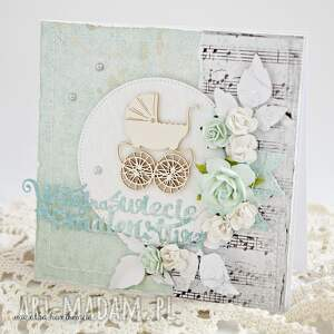 handmade scrapbooking kartki narodziny witaj na świecie maleństwo
