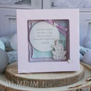 różowe scrapbooking kartki prezent na chrzest wyjątkowa pamiątka chrztu świętego