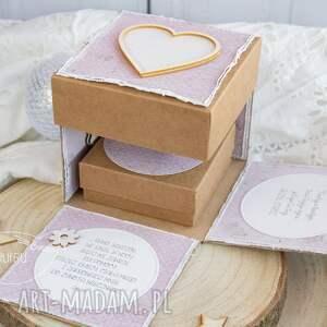 beżowe scrapbooking kartki narodziny wyjątkowy eksplodujący box