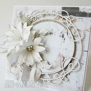 niesztampowe scrapbooking kartki ślub z diamencikami - w pudełku