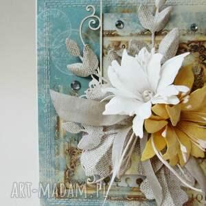 imieniny scrapbooking kartki z kwiatami - kartka w pudełku
