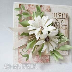 ślub scrapbooking kartki z kwiatami - w pudełku