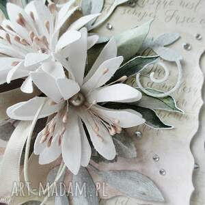 oryginalne scrapbooking kartki gratulacje z kwiatami - w pudełku
