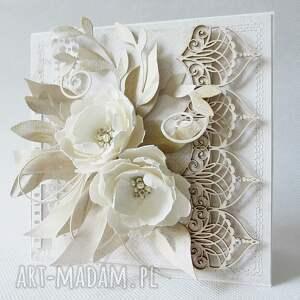 podziękowanie scrapbooking kartki z kwiatami - w pudełku