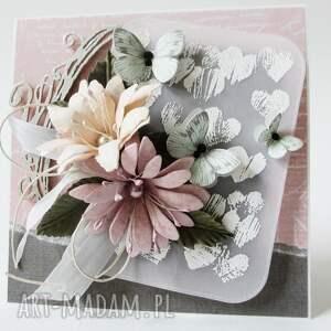 scrapbooking kartki rocznica z kwiatami - w pudełku