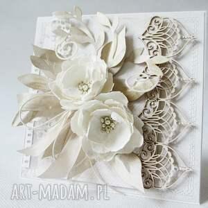 oryginalne scrapbooking kartki ślub z kwiatami - w pudełku