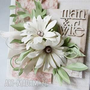 ręcznie robione scrapbooking kartki ślub z kwiatami - w pudełku