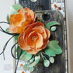 scrapbooking kartki urodziny z kwiatami - w pudełku