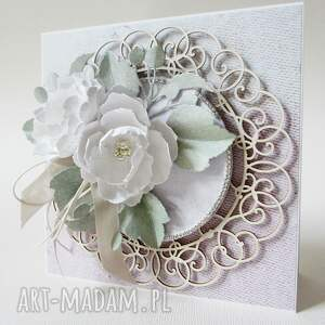 handmade scrapbooking kartki ślub z kwiatami - w pudełku