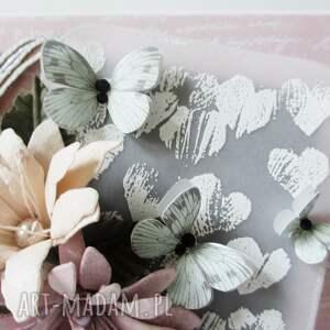 intrygujące scrapbooking kartki ślub z kwiatami - w pudełku