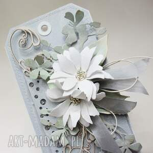niebieskie scrapbooking kartki urodziny z kwiatami w pudełku
