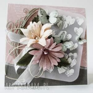 ślub scrapbooking kartki różowe z kwiatami - w pudełku