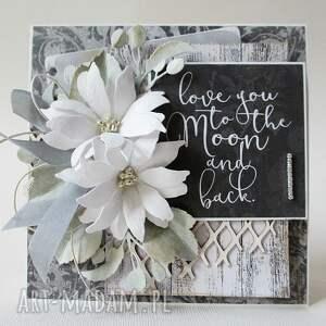 niesztampowe scrapbooking kartki życzenia z kwiatami - w pudełku