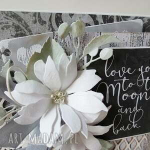 niesztampowe scrapbooking kartki wyznanie z kwiatami - w pudełku