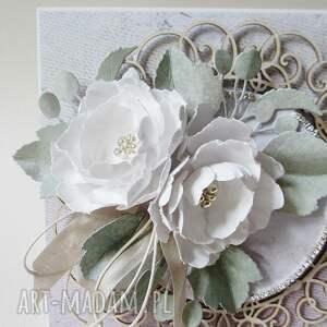 handmade scrapbooking kartki życzenia z kwiatami - w pudełku