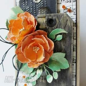 ślub scrapbooking kartki białe z kwiatami - w pudełku