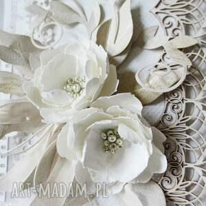 białe scrapbooking kartki ślub z kwiatami - w pudełku