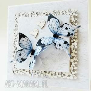 białe scrapbooking kartki rocznica z motylami
