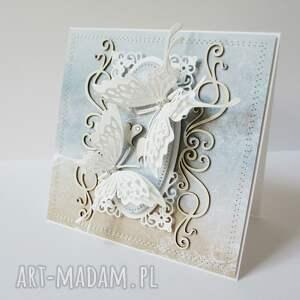 białe scrapbooking kartki ślub z motylami - w pudełku
