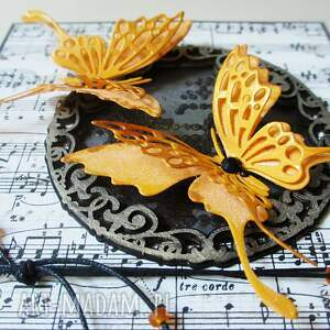 pomarańczowe scrapbooking kartki życzenia z motylami - w pudełku