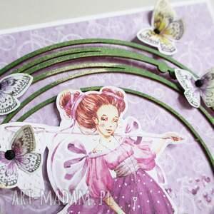 życzenia scrapbooking kartki fioletowe z motylkami