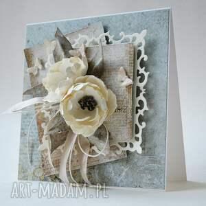 ślub scrapbooking kartki białe z życzeniami - w pudełku