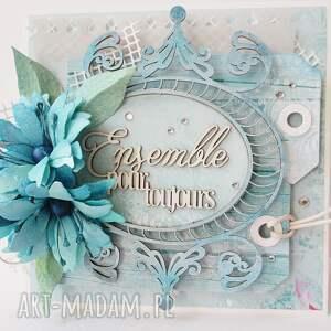 życzenia scrapbooking kartki turkusowe z życzeniami - w pudełku