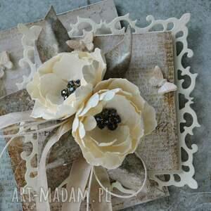 handmade scrapbooking kartki ślub z życzeniami - w pudełku