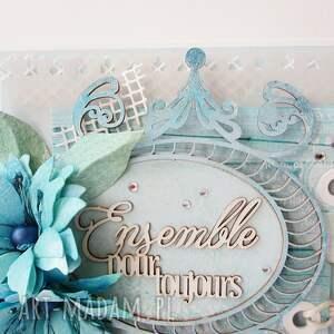 białe scrapbooking kartki ślub z życzeniami - w pudełku