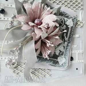 białe scrapbooking kartki gratulacje z życzeniami - w pudełku