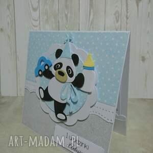 niebieskie scrapbooking kartki autko zaproszenie / karta panda