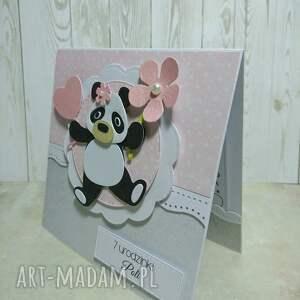różowe scrapbooking kartki urodziny zaproszenie / karta panda z