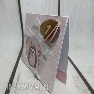 białe scrapbooking kartki zaproszenie / kartka sówka w 3d