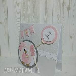 różowe scrapbooking kartki zaproszenie / kartka sówkowe