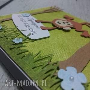 brązowe scrapbooking kartki zaproszenie / kartka małpki w lesie