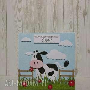 krowa scrapbooking kartki czarne zaproszenie / kartka krówka na