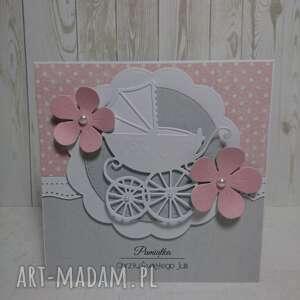 białe scrapbooking kartki chrzest zaproszenie / kartka wózek w