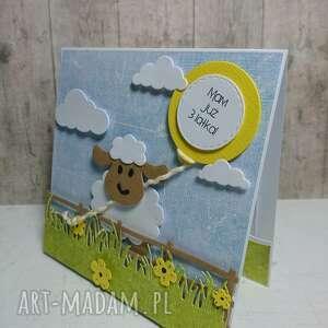 zielone scrapbooking kartki farma zaproszenie / kartka owieczka