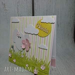 białe scrapbooking kartki łąka zaproszenie / kartka słonik na łące