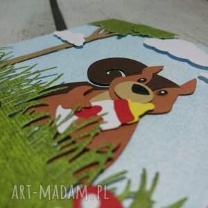 narodziny scrapbooking kartki czerwone zaproszenie / kartka z wiewiórką