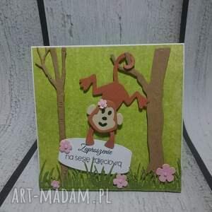 wyjątkowe scrapbooking kartki małpka zaproszenie / kartka małpki w lesie