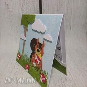 handmade scrapbooking kartki narodziny zaproszenie / kartka z wiewiórką