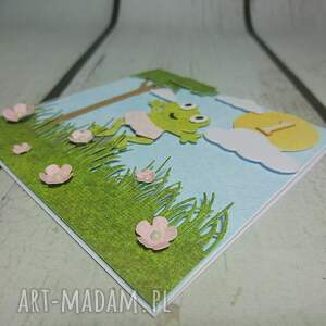 żaba scrapbooking kartki zielone zaproszenie / kartka żabka monika
