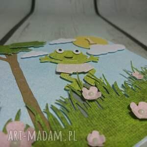 różowe scrapbooking kartki urodzin zaproszenie / kartka żabka monika