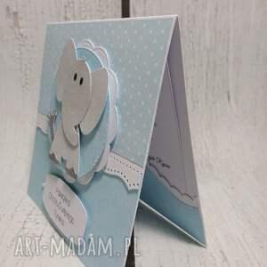 białe scrapbooking kartki urodziny zaproszenie / kartka ze słoniątkiem