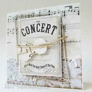handmade scrapbooking kartki zaproszenie ze skrzypcami