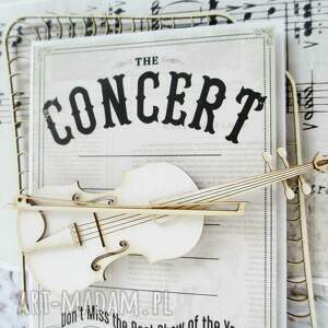 białe scrapbooking kartki podziękowanie ze skrzypcami