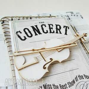 zaproszenie scrapbooking kartki ze skrzypcami
